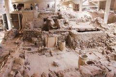 Akrotiri, Santorini, археологические раскопки Стоковое Фото