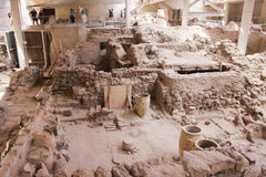 Akrotiri Santorini, arkeologisk plats Arkivfoto