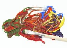 Akrylen färgar och målar borstar Royaltyfri Foto