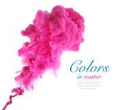 Akrylfärger och färgpulver i vatten Royaltyfria Bilder