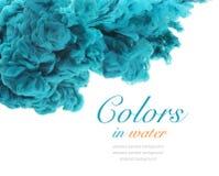 Akrylfärger och färgpulver i vatten abstrakt bakgrund Fotografering för Bildbyråer