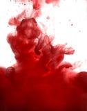 Akrylfärger och färgpulver i vatten göra sammandrag bakgrundsramen Isolerat på vit fotografering för bildbyråer