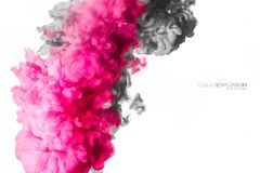 Akrylfärgpulver i vatten illustrationen för fractals för explosionen för abstrakt bakgrundsfärg texturerade den digitala Royaltyfri Foto