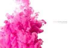 Akrylfärgpulver i vatten illustrationen för fractals för explosionen för abstrakt bakgrundsfärg texturerade den digitala Royaltyfria Bilder