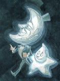 Moon och stjärna Arkivfoto