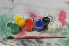 Akrylmålarfärger Arkivfoto