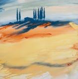 Akrylmålning av ett gul, orange, för blått kulört färgrikt Tuscan landskap med huset, träd och cypressar med flödande mål royaltyfri illustrationer