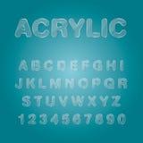 Akrylowe abecadeł i liczb charakteru ikony, typograficzny vecto Obrazy Stock