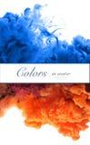 Akrylowi kolory i atrament w wodzie tło abstrakcyjna rama Isol zdjęcia royalty free