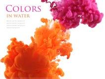 Akrylowi kolory w wodzie abstrakcyjny tło Obrazy Stock