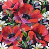 Akrylowy kwiatów i liści bezszwowy wzór ilustracja wektor
