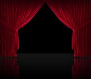 Aksamitna czerwona courtain czerni podłoga Fotografia Stock