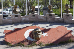 AKSARAY-KONYA HIGHWAY, TURKEY - MAY 07, 2015: Photo of Busts of the most famous people in Turkey. Stock Image