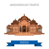 Akshardham Hindu Temple New Dehli India vector flat attraction Stock Photography