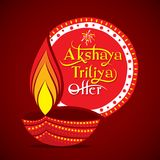 Akshaya tritiya festival offer template. Creative vector illustration of akshaya tritiya festival offer template with diya Royalty Free Stock Photography