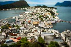 Aksla at the city of Alesund tilt shift lens, Norway. Aksla at the city of Alesund tilt shift lens Royalty Free Stock Photo