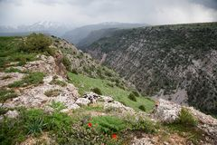 Aksu River Canyon. Aksu-Jabagly natural reserve in Alatau mountains, Central Asia, Kazakhstan Stock Photos
