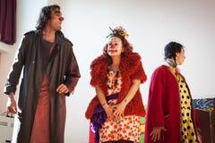 Aktördeltagande i Milan Clown Festival 2014 Arkivfoto