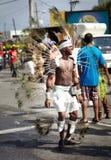 Aktörer i en karneval, Jamaica Arkivbild