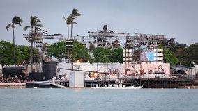 Aktöretapplykta som svävar ceremoni Honolulu 2018 Royaltyfri Bild
