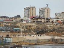 Aktau miasto na morzu obrazy stock
