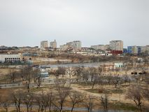 Aktau miasto na morzu zdjęcie royalty free