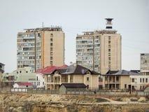 Aktau-Stadt auf dem Meer Stockbild
