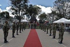 Akte van hulde aan militairen gevallen in het conflict van Colombia Stock Fotografie