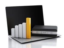 Aktenkoffer 3d, Statistikdiagramm und Laptop-PC Geschäftslokalbetrug Lizenzfreie Stockbilder