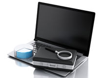 Aktenkoffer 3d, Statistikdiagramm und Laptop-PC Geschäftslokalbetrug Stockbilder