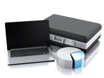 Aktenkoffer 3d, Statistikdiagramm und Laptop-PC Geschäftslokalbetrug Lizenzfreie Stockfotografie