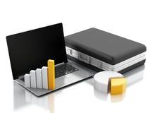 Aktenkoffer 3d, Statistikdiagramm und Laptop-PC Geschäftslokalbetrug Lizenzfreie Stockfotos