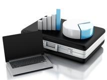 Aktenkoffer 3d, Statistikdiagramm und Laptop-PC Geschäftslokalbetrug Lizenzfreies Stockbild