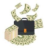 Aktenkoffer mit Geld Lizenzfreies Stockfoto