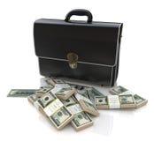 Aktenkoffer und Geld Stockfotos