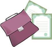Aktenkoffer und Papiere Stockfoto