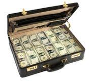 Aktenkoffer voll verpackt von den Dollarscheinen Lizenzfreie Stockfotografie