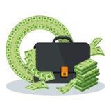 Aktentas met geld stock illustratie