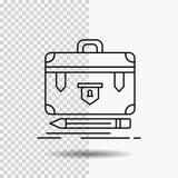 aktentas, zaken, financieel, beheer, het Pictogram van de portefeuillelijn op Transparante Achtergrond Zwarte pictogram vectorill royalty-vrije illustratie