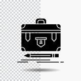 aktentas, zaken, financieel, beheer, het Pictogram van portefeuilleglyph op Transparante Achtergrond Zwart pictogram vector illustratie