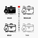 aktentas, zaken, geval, open, portefeuillepictogram in Dunne, Regelmatige, Gewaagde Lijn en Glyph-Stijl Vector illustratie royalty-vrije illustratie