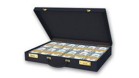 Aktentashoogtepunt van dollarrekeningen op witte achtergrond wordt geïsoleerd die Stock Afbeelding