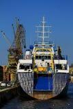 Akter av det förankrade skeppet Arkivfoto