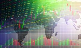 Aktiemarknad- eller forexhandelgraf och ljusstakediagram på världskarta vektor illustrationer