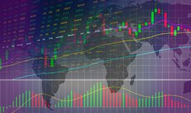 Aktiemarknad- eller forexhandelgraf och ljusstakediagram på världskarta - investera och aktiemarknad vektor illustrationer