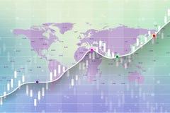 Aktiemarknad och utbyte Diagram för stearinljuspinnegraf av aktiemarknadinvesteringhandeln på världskartabakgrundsdesign vektor illustrationer