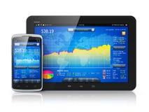 Aktiemarknad på mobila apparater Arkivfoto