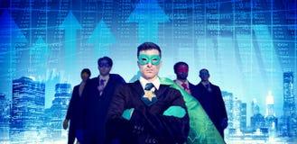Aktiemarknad Team Concept för SuperheroaffärsmanCityscape Fotografering för Bildbyråer