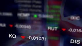Aktiemarknadaffärsbakgrund med UK-flaggan lager videofilmer