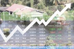 Aktiemarknaddata indexerar information av att översvämma områdesproblembac Arkivbild